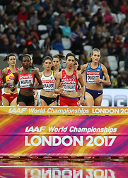 London, August 09 2017 . The athletes approach the water jump in the women's 3,000m steeplechase heats on day six of the IAAF London 2017 world Championships at the London Stadium. © Paul Davey.