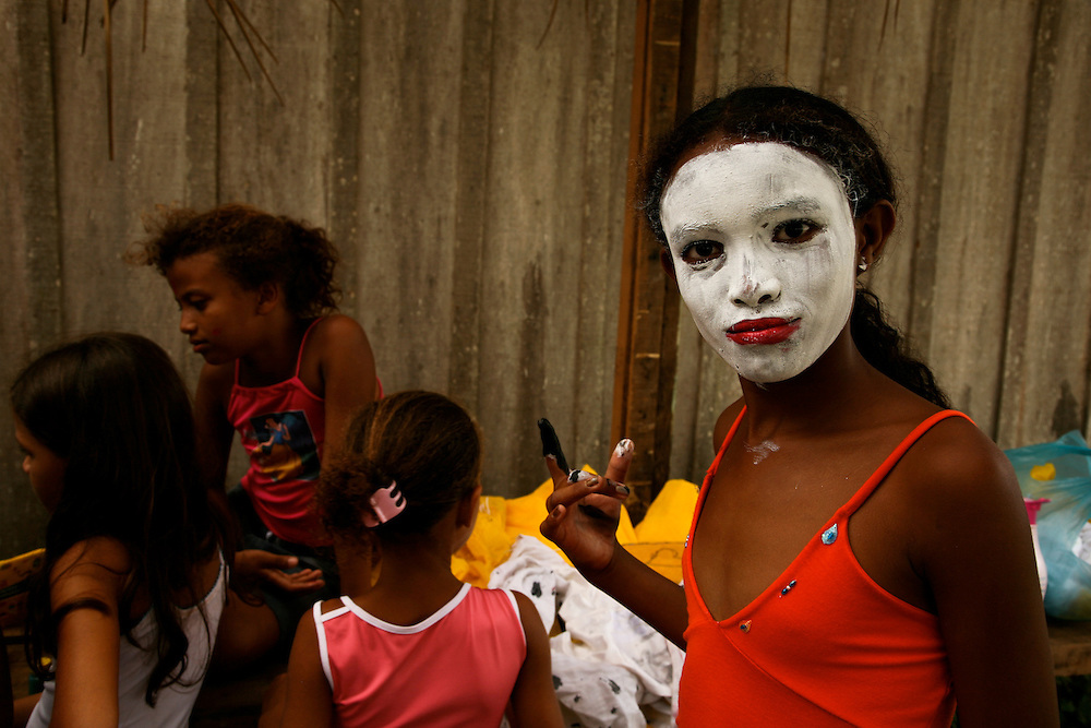 Anapu, Para State (Brazil). February 12th 2006. .Kids getting dressed as wild animals for a play during the first anniversary of Sister Dorothy Tsang assassination.