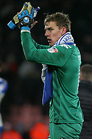 Football - 2017 / 2018 FA Cup - Third Round : AFC Bournemouth vs. Wigan Athletic<br /> <br /> Christian Walton of Wigan Athletic applauds the traveling fans at Dean Court (Vitality Stadium) Bournemouth <br /> <br /> COLORSPORT/SHAUN BOGGUST
