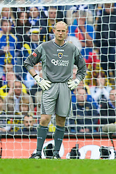 LONDON, ENGLAND - Saturday, May 17, 2008: Cardiff City's goalkeeper Peter Enckelman looks dejected after Portsmouth's opening goal during the FA Cup Final at Wembley Stadium. (Photo by David Rawcliffe/Propaganda)