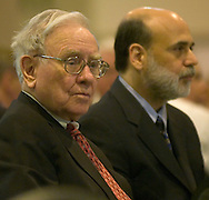 2/6/07 Omaha NE Warren Buffett sits next to Federal Reserve Chairman Ben Bernanke before he speaks at the  Greater Omaha Chamber of Commerce's annual meeting at the Qwest Center Omaha Tuesday afternoon. (photo by Chris Machian/ Prairie Pixel Group)