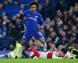 Willian of Chelsea fouls Alexis Sanchez of Arsenal - Mandatory by-line: Alex James/JMP - 10/01/2018 - FOOTBALL - Stamford Bridge - London, England - Chelsea v Arsenal - Carabao Cup semi-final first leg