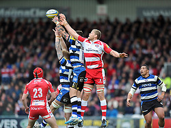 James Hudson (Gloucester) competes for the ball in the air - Photo mandatory by-line: Patrick Khachfe/JMP - Tel: Mobile: 07966 386802 12/04/2014 - SPORT - RUGBY UNION - Kingsholm Stadium, Gloucester - Gloucester Rugby v Bath Rugby - Aviva Premiership.