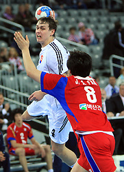 Peter Kukucka (4) of Slovakia during 21st Men's World Handball Championship 2009 Main round Group I match between National teams of Slovakia and Korea, on January 24, 2009, in Arena Zagreb, Zagreb, Croatia.  (Photo by Vid Ponikvar / Sportida)
