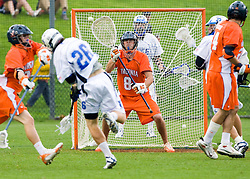 Duke attackman Zach Howell (26) beats Virginia Goalie Bud Petit (8) to score in the first half.  The #2 ranked Duke Blue Devils defeated the #3 ranked Virginia Cavaliers 11-9 in the finals of the Men's 2008 Atlantic Coast Conference tournament at the University of Virginia's Klockner Stadium in Charlottesville, VA on April 27, 2008.
