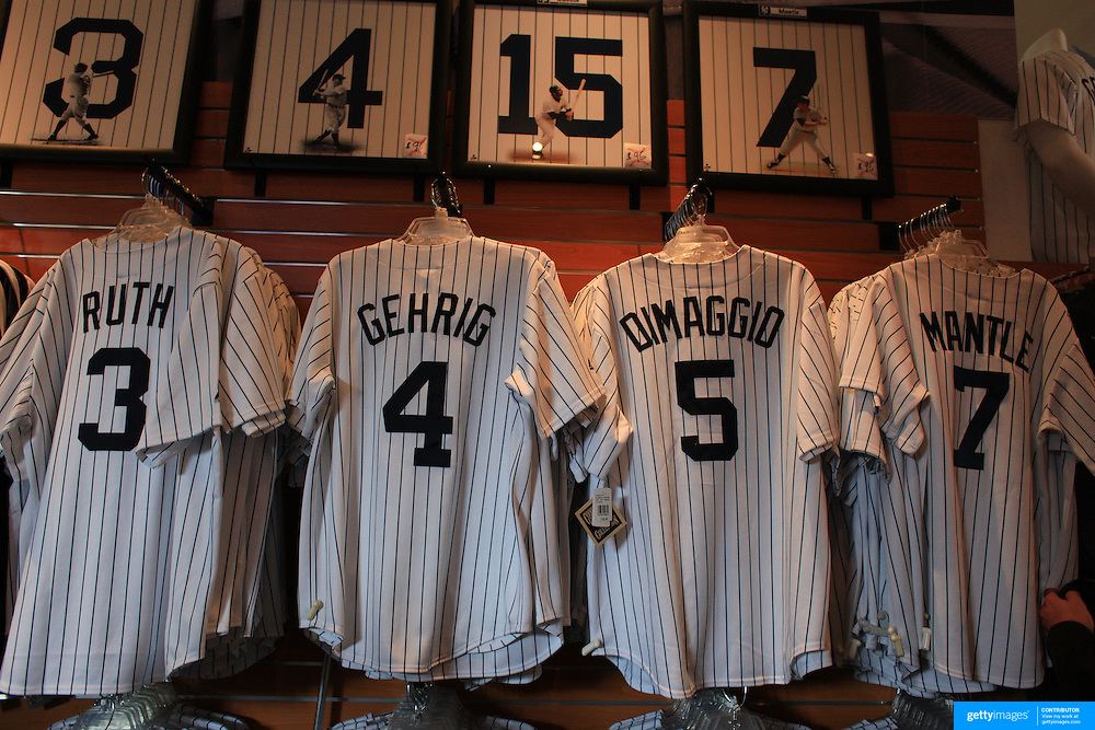 Yankee legends baseball shirts of Babe Ruth, Lou Gehrig, Joe DiMaggio and Mickey Mantle for sale at the Yankees store at Yankee Stadium, The Bronx, during the New York Yankees V Detroit Tigers Baseball game at Yankee Stadium, The Bronx, New York. 28th April 2012. Photo Tim Clayton