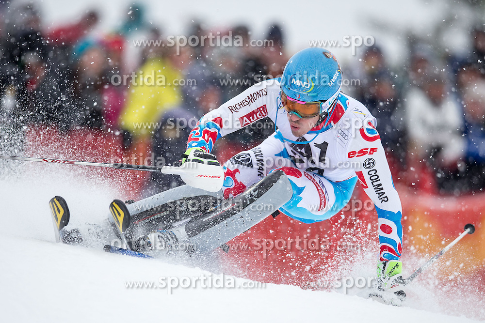 25.01.2015, Streif, Kitzbuehel, AUT, FIS Ski Weltcup, Slalom, Herren, 1. Lauf, im Bild Victor Muffat-Jeandet (FRA) // Victor Muffat-Jeandet of France in action during 1st run of the men's Slalom of Kitzbuehel FIS Ski Alpine World Cup at the Streif Course in Kitzbuehel, Austria on 2015/01/25. EXPA Pictures © 2015, PhotoCredit: EXPA/ Johann Groder