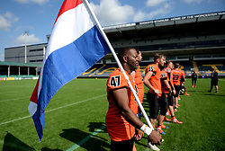 Netherlands players line up ahead of their game against Russia in the IFAF Championships at Sixways Stadium - Photo mandatory by-line: Dougie Allward/JMP - 18/09/2016 - American Football - Sixways Stadium - Worcester, England - Netherlands v Russia - IFAF European Championship