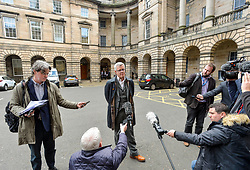 Pictured: Campaigner Jo Maugham QC speaks to the media outside the Court.<br /> <br /> The Court of Session today started hearing a bid by campaigners including SNP MP Joanna Cherry and others to get the Court to appoint someone to request a Brexit extension in the eve that the Prime Minister fails to seek an extension to the October 31st Brexit date.<br /> <br /> © Dave Johnston / EEm