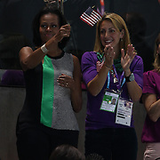 Michelle Obama watching the swimming finals at the Aquatic Centre at Olympic Park, Stratford during the London 2012 Olympic games. London, UK. 28th July 2012. Photo Tim Clayton