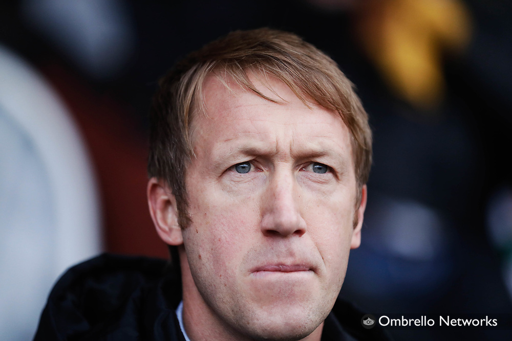 JONKOPING, SWEDEN - NOVEMBER 05: Graham Potter, head coach of Östersunds FK during the Allsvenskan match between Jönköpings Södra IF and Östersunds FK at Stadsparksvallen on November 5, 2017 in Jonkoping, Sweden. Foto: Nils Petter Nilsson/Ombrello