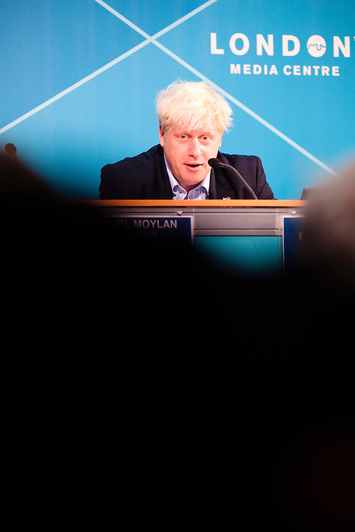 London, UK - 9 August 2012: Mayor Boris Johnson addresses the audience during the Press Conference 'Delivering a lasting legacy from the London 2012 Games' at the London Media Centre.