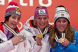 19.02.2011, Medal Placa, Garmisch Partenkirchen, GER, FIS Alpin Ski WM 2011, GAP, Damen, Slalom, Medaillen Zeremonie, im Bild v.l. Silber Medaille Kathrin Zettel (AUT), Gold Medaille und Weltmeister Marlies Schild (AUT) und Bronze Medaille Maria Pietilae-Holmner (SWE) // Winners Presentation v.l. silver medal Kathrin Zettel (AUT), Gold Medal and World Champion Marlies Schild (AUT) and bronze Medal Maria Pietilae-Holmner (SWE) during Ladie's Slalom Medalceremony Fis Alpine Ski World Championships in Garmisch Partenkirchen, Germany on 19/2/2011. EXPA Pictures © 2011, PhotoCredit: EXPA/ J. Groder