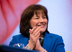 Edinburgh, Scotland, UK. 28 April, 2019. Day 2 of thee SNP ( Scottish National Party) Spring Conference takes place at the EICC ( Edinburgh International Conference Centre) in Edinburgh. Pictured; Jeanne Freeman MSP, Secretary for Health and Sport smiling.