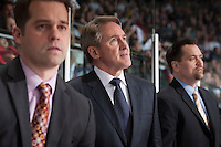 KELOWNA, CANADA - APRIL 25: Mike Johnston, head coach of the Portland Winterhawks stands on the bench against the Kelowna Rockets on April 25, 2014 during Game 5 of the third round of WHL Playoffs at Prospera Place in Kelowna, British Columbia, Canada. The Portland Winterhawks won 7 - 3 and took the Western Conference Championship for the fourth year in a row earning them a place in the WHL final.  (Photo by Marissa Baecker/Getty Images)  *** Local Caption *** Mike Johnston;