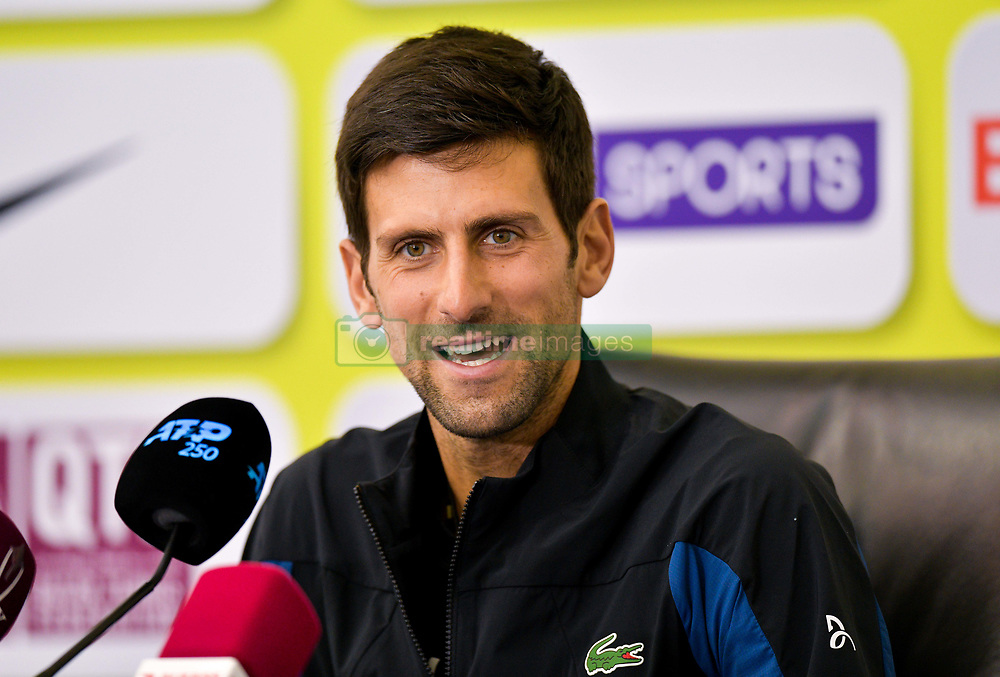 Novak Djokovic of Serbia speaks during a press conference ahead of the ATP Qatar Open tennis tournament 2019 at the Khalifa International Tennis Compl?ex in Doha, capital of Qatar, on December 31, 2018. Qatar Open run from December 31,2018 to January 05, 2019  (Credit Image: © Yangyuanyong/Xinhua via ZUMA Wire)