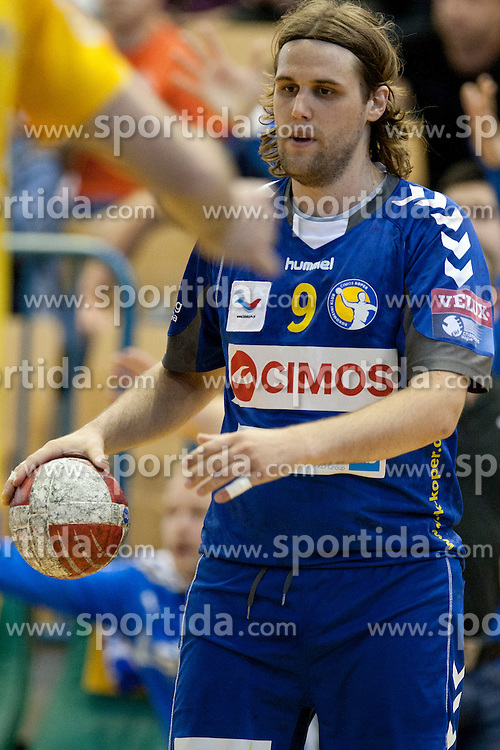 Dean Bombac of Cimos during handball match between RK Celje Pivovarna Lasko vs RK Cimos Koper in 9th Round of 1st NLB Leasing Champions league 2011/12, on May 19, 2012 in Arena Zlatorog, Celje, Slovenia. (Photo by Urban Urbanc / Sportida.com)