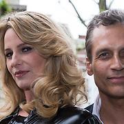 """NLD/Amsterdam/20130613 - Presentatie erotische triller """" Kamer 303 """" van Claudia Schoemacher - van Zweden met partner Robert Schoemacher, in latex catsuit"""