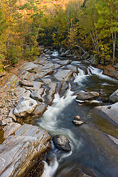 New Haven River in Fall in Vermont's Green Mountains. Bristol, Vermont. Green Mountain National Forest.