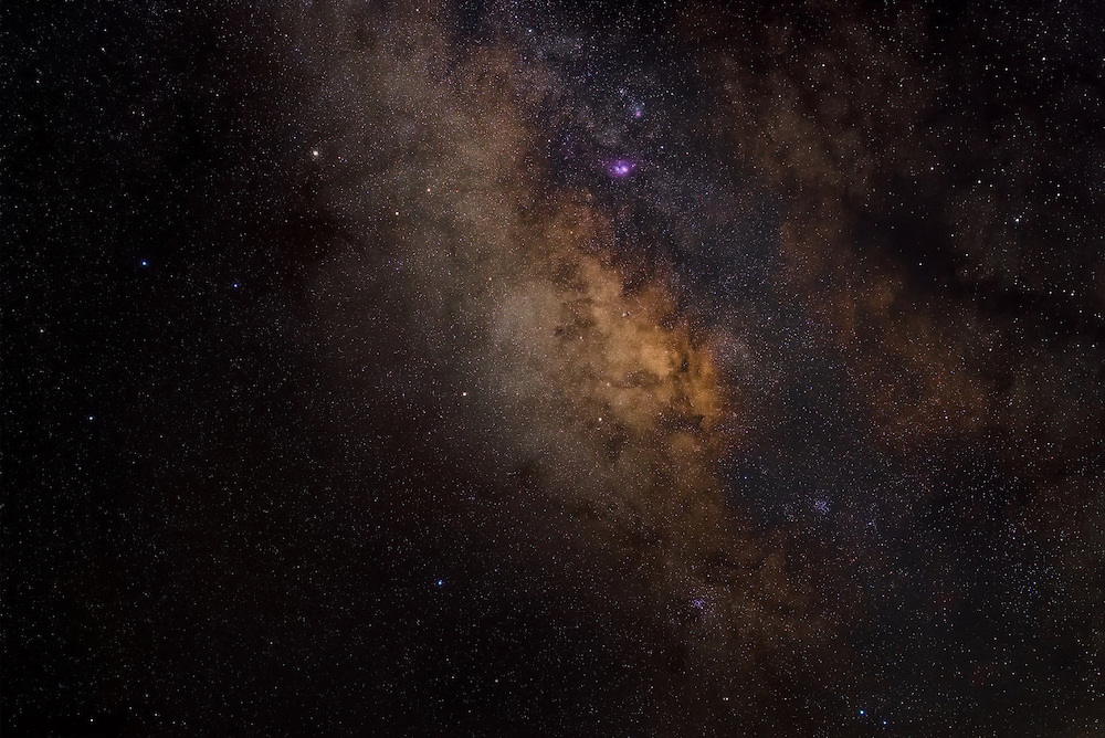 The asterism of Sagittarius often called the teapot because of its shape. Our galaxy core looks like steam coming out of its spout.<br /> <br /> Single exposure at 70mm using an unmodified Nikon D750.