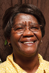 Portrait of old black lady looking hsppy