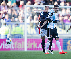 Falkirk's Taylor Morgan and Hearts Alim Ozturk. <br /> Falkirk 0 v 3 Hearts, Scottish Championship game played 21/3/2015 at The Falkirk Stadium.