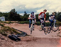 Getting rad at the BMX track in Marquette, MI, 1982