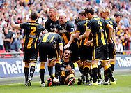 Luke Carr (on floor) of Morpeth Town AFC celebrates scoring to make it 1-2  during the FA Vase Final at Wembley Stadium, London<br /> Picture by Simon Moore/Focus Images Ltd 07807 671782<br /> 22/05/2016