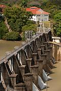 View of a dam at Miraflores Locks . Panama Canal, Panama City, Panama, Central America.