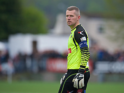 NEWTOWN, WALES - Saturday, May 2, 2015: The New Saints captain goalkeeper Paul Harrison in action against Newtown during the FAW Welsh Cup final match at Latham Park. (Pic by Ian Cook/Propaganda)