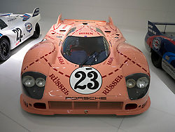 "Porsche 917 ""The Pig"" race car on display at Porsche Museum in Stuttgart Germany"