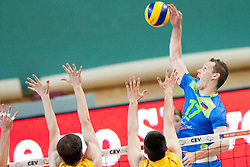 Tine Urnaut #17 of Slovenia during volleyball match between National Teams of Slovenia and FRY Macedonia of 2014 CEV Volleyball European League Man - Pool B, on July 5, 2014, in Arena Ljudski vrt Lukna, Maribor, Slovenia, Slovenia. Photo by Urban Urbanc / Sportida