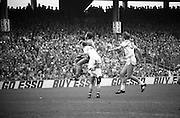 The All Ireland Senior Football Final.1982.19.09.1982.09.19.1982.19th September 1982..The senior final was contested between Offaly and Kerry. Offaly won the title by the narrowest of margins 1.15 to 17 points..Liston (Kerry) outjumps two defenders to take control of the ball.