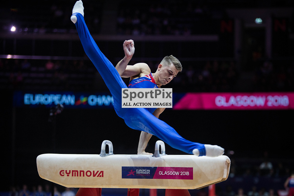 Max Whitlock of Great Britain competes in the Gymnastics Team Men Qualification - 2018 European Championships Glasgow, 9 August 2018. (c) Adam Oliver | sportPix.org.uk
