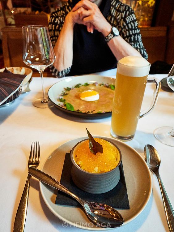 Austria, Carinthia. Tainach. Sicher Restaurant. Saiblingskaviar (char caviar).
