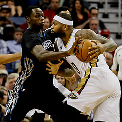 Mar 19, 2017; New Orleans, LA, USA; Minnesota Timberwolves forward Gorgui Dieng (5) knocks the ball away from New Orleans Pelicans forward DeMarcus Cousins (0) during the second quarter of a game at the Smoothie King Center. Mandatory Credit: Derick E. Hingle-USA TODAY Sports