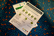 """""""Information for citizens about coronavirus"""" for train travellers by the Czech ministry of health in a train to Cheb towards the German border. A lot less commuters and travellers are visible after the Coronavirus pandemic (COVID-19) outbreak - pictured on the 11th of March 2020."""