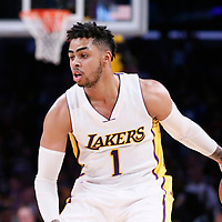 26 March 2016: Los Angeles Lakers guard D'Angelo Russell (1) dribbles during the Portland Trail Blazers 97-81 victory over the Los Angeles Lakers, at the Staples Center, Los Angeles, California, USA.