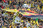 Watford fans prior to kick off during the The FA Cup match between Crystal Palace and Watford at Wembley Stadium, London, England on 24 April 2016. Photo by Shane Healey.