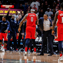Dec 13, 2017; New Orleans, LA, USA; New Orleans Pelicans center DeMarcus Cousins (0) celebrates with head coach Alvin Gentry during the fourth quarter against the Milwaukee Bucks  at the Smoothie King Center. The Pelicans defeated the Bucks 115-108. Mandatory Credit: Derick E. Hingle-USA TODAY Sports