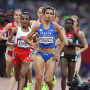 Elena Romagnolo, Italy, (front) in action during the Women's 5000m Final at the Olympic Stadium, Olympic Park, Stratford during the London 2012 Olympic games. London, UK. 10th August 2012. Photo Tim Clayton