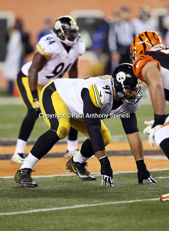 Pittsburgh Steelers defensive end Cameron Heyward (97) gets set to rush from a four point stance during the NFL AFC Wild Card playoff football game against the Cincinnati Bengals on Saturday, Jan. 9, 2016 in Cincinnati. The Steelers won the game 18-16. (©Paul Anthony Spinelli)