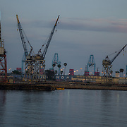 Shipyard and cargo cranes. San Pedro, California.