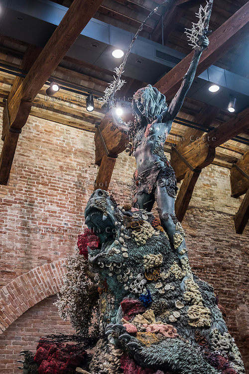"Venezia - Punta della Dogana . La mostra di Damien Hirst: ""Tresaures from the Wreck of Unbelievable. The warrior and the bear""."