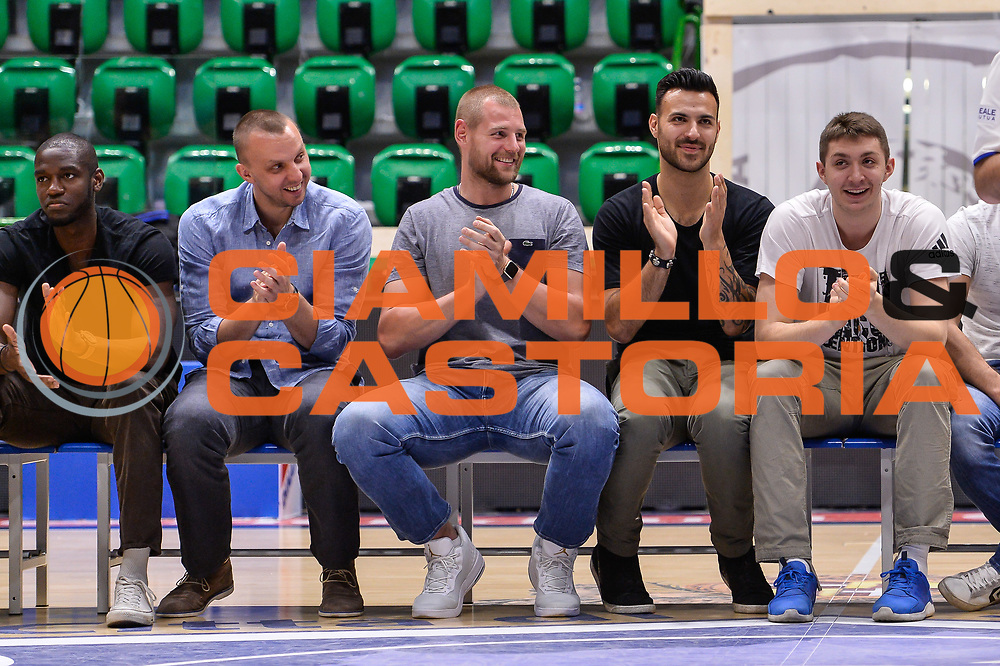 Dusko Savanovic Tautvydas Lydeka Brian Sacchetti<br /> Saluti Finali Banco di Sardegna Dinamo Sassari<br /> Legabasket Serie A LBA Poste Mobile 2016/2017<br /> Sassari 18/05/2017<br /> Foto Ciamillo-Castoria