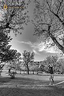 Pete Thomas balancing on slackline in Sully Creek State Park in Medora, North Dakota