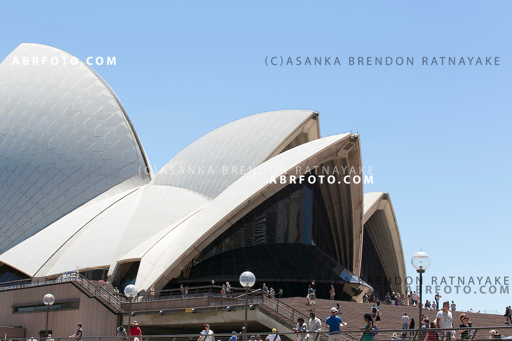 Tourists at the entrance steps of the Sydney Opera House