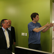 Mayor Richard Daley, left, gets a tour of Groupon's headquarters by founder and CEO Andrew Mason Tuesday August 31, 2010. Groupon's headquarters are in the former Montgomery Wards' catalog warehouse.  Jose More Photography...