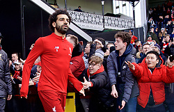 LONDON, ENGLAND - Sunday, March 17, 2019: Liverpool's Mohamed Salah runs out for the the pre-match warm-up before the FA Premier League match between Fulham FC and Liverpool FC at Craven Cottage. (Pic by David Rawcliffe/Propaganda)