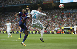 August 16, 2017 - Madrid, Spain - Nélson Semedo and Sergio Ramos. Real Madrid defeated Barcelona 2-0 in the second leg of the Spanish Supercup football match at the Santiago Bernabeu stadium in Madrid, on August 16, 2017. (Credit Image: © Antonio Pozo/VW Pics via ZUMA Wire)
